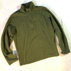 The north face 1/2 zip olive green fleece/Lg